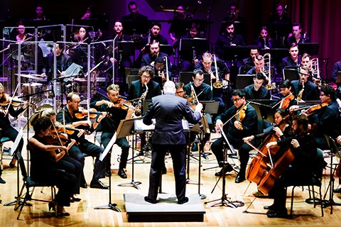 A conductor guiding an orchestra during a performance at the Frost School of Music