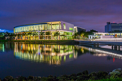 The Student Center at the University of Miami Coral Gables campus at night