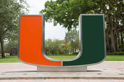 Statue of the University of Miami Logo on campus in Coral Gables