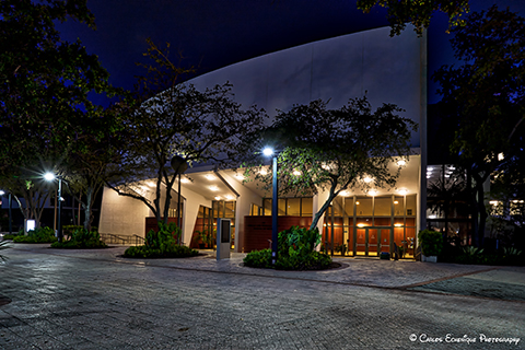Exterior of Gusman Concert Hall at night