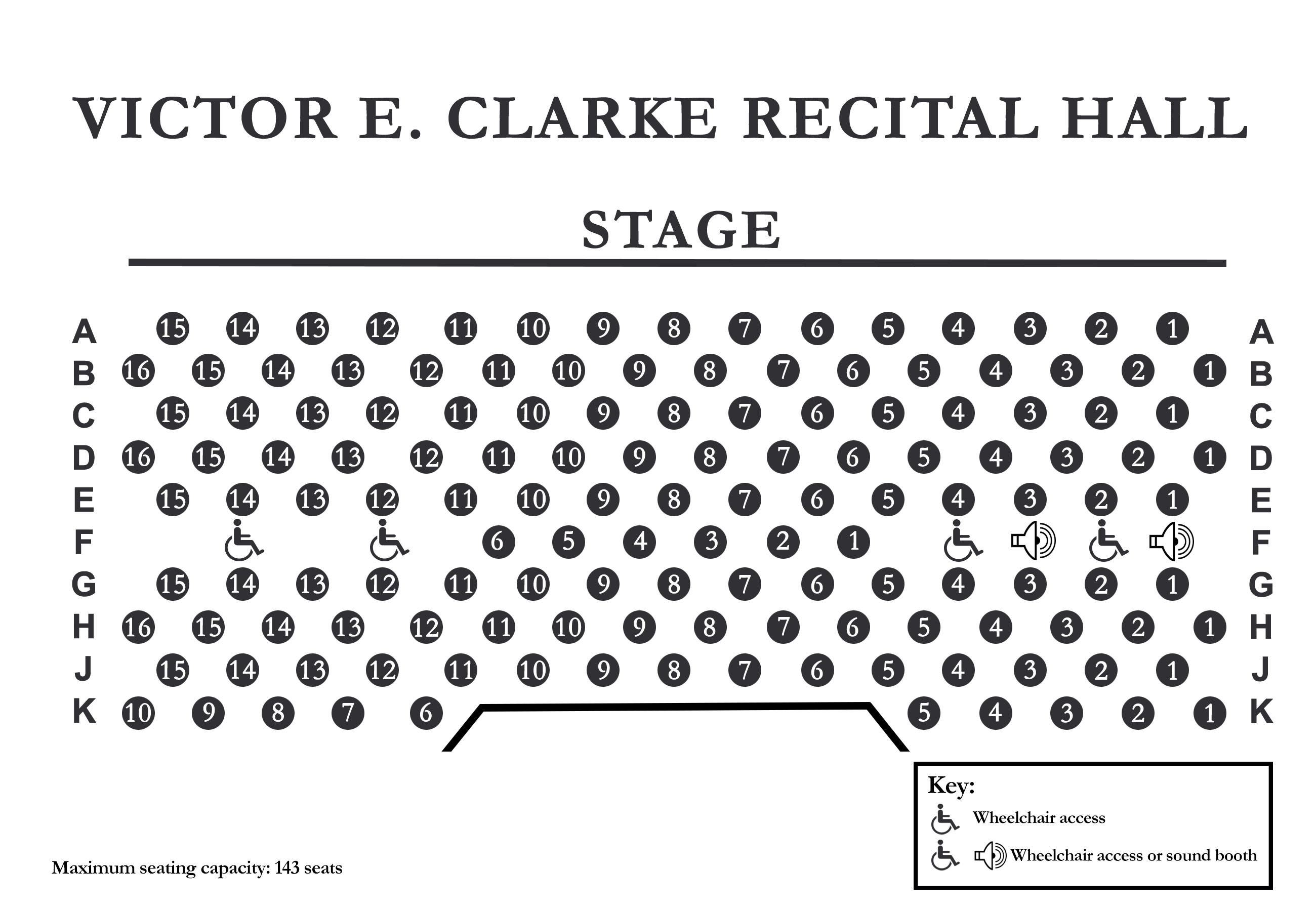 Clarke Recital Hall Seating Chart